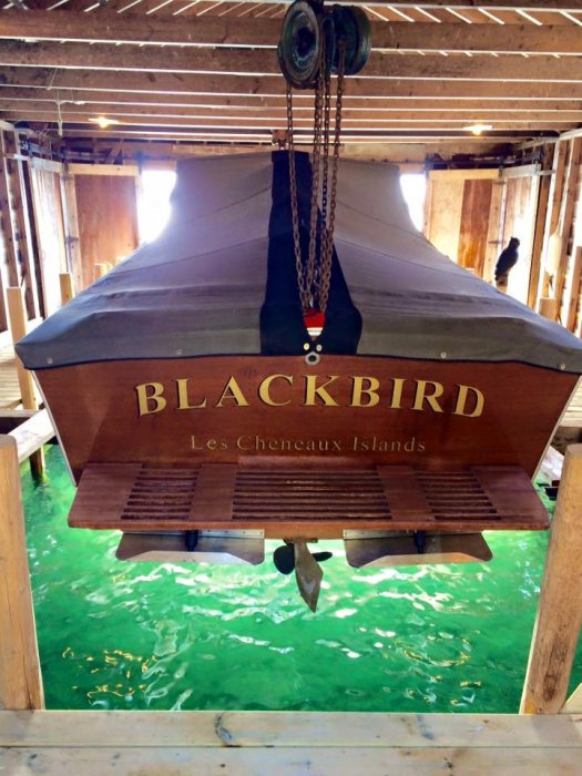 Stored for the winter in our boathouse in the Les Cheneaux Islands.  2 points of lift & 6 points of support.