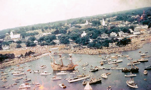 MAYFLOWER arriving by sea at Plymouth, Massachusetts