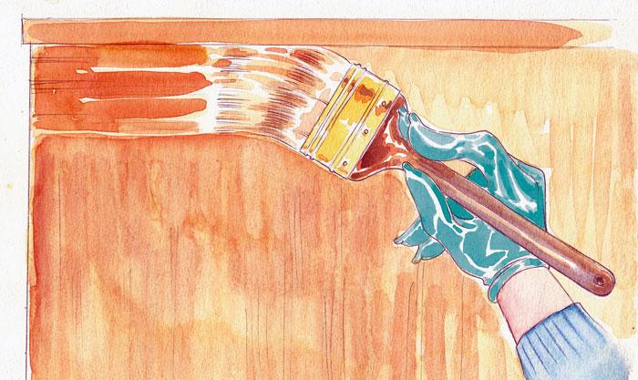 Applying varnish.