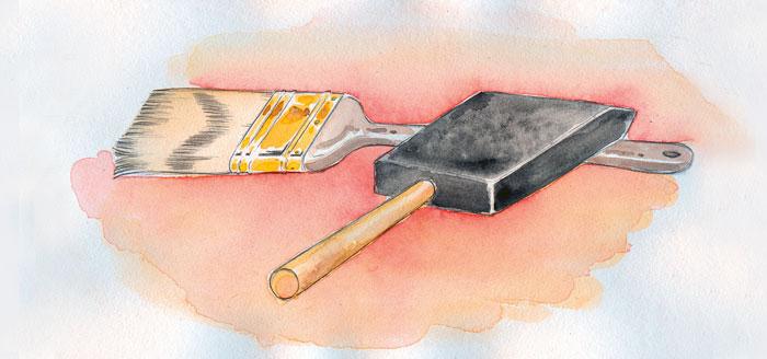 Bristle brush or foam brush.