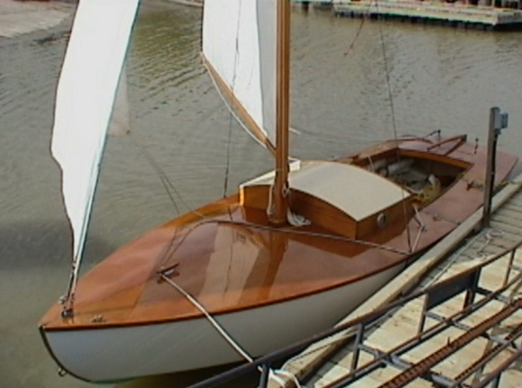 "BIBI is a 16' 6"" hard-chined, plywood centerboard sloop."