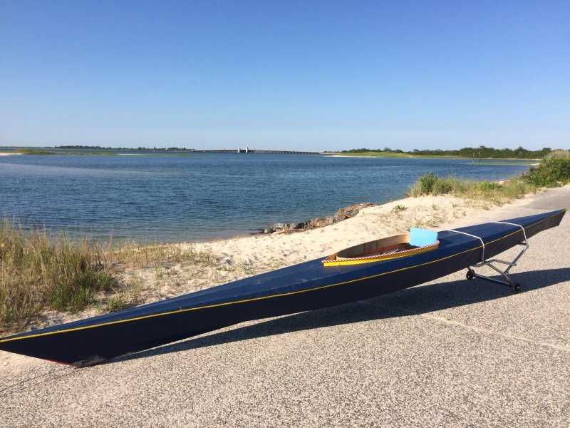 BLUE BUNNY is a modified Ross Miller Egret kayak.