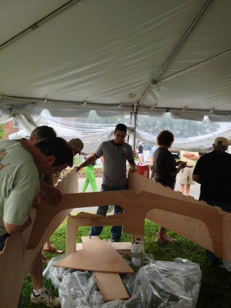 At family boatbuilding