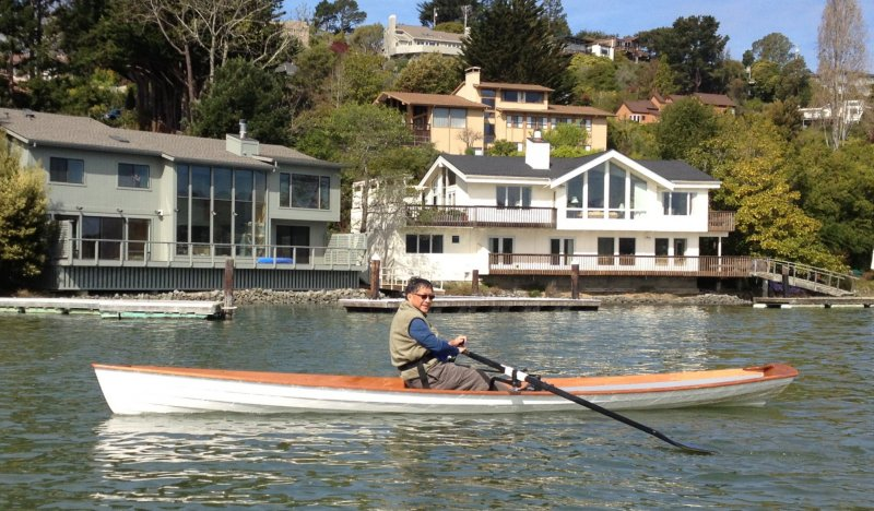 Kwei rowing his Annapolis Wherry on Richardson Bay
