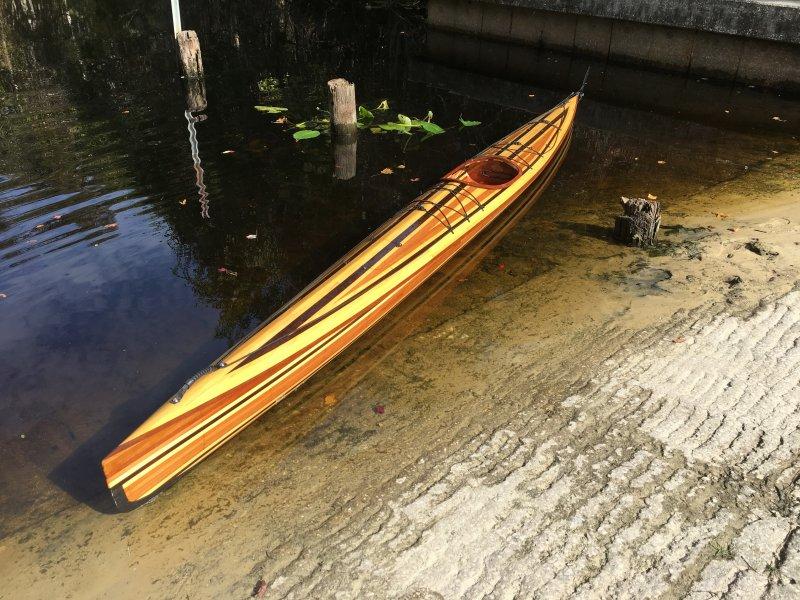 Strip-built Wahoo Fast Sea Kayak.