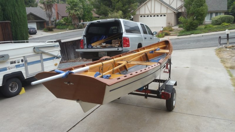 Skiff on trailer.