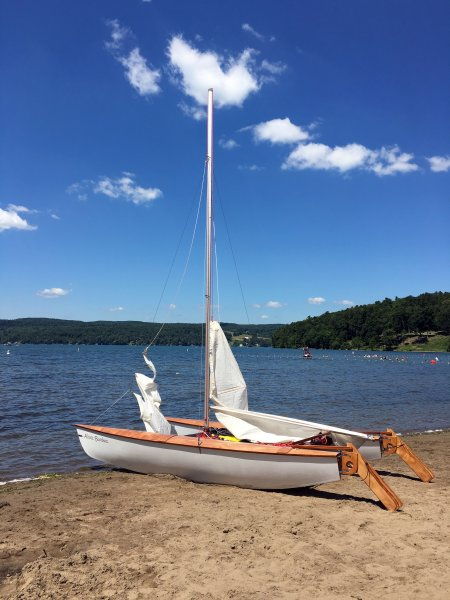 The Pixie catamaran is easy to launch from the beach.