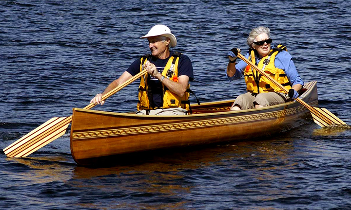 Arie Van Dyk and wife Jean try out the new canoe