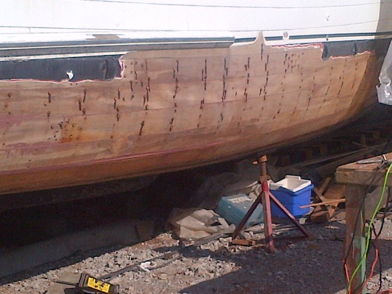Bottom rebuild including ribs, keel, keelson, stem, apron and knee.  Many planks replaced.
