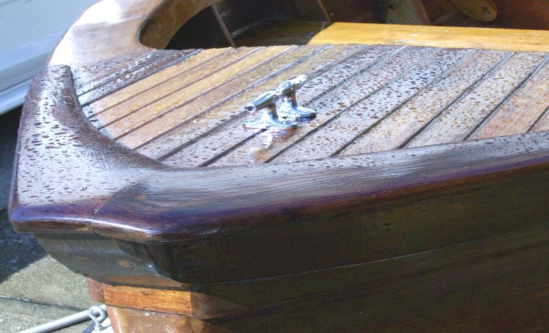 Close up of dinghy hull.