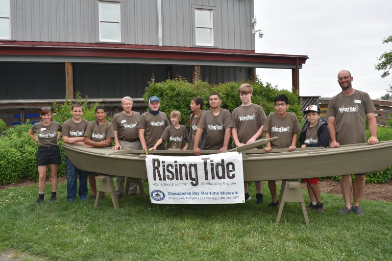 CBMM's Rising Tide After-School Boatbuilding students with Cattail