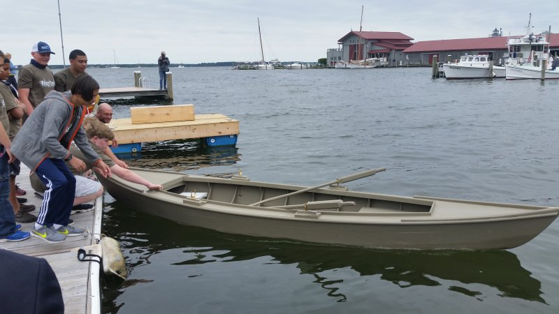 Cattail was launched at CBMM's Community Day, with a celebration for the Rising Tide After-School Boatbuilding students