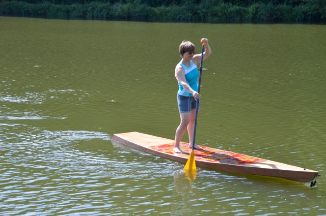 The 12' paddleboard is stable and tracks well.