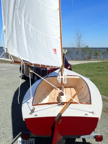 Full sail ashore.  Stern view.