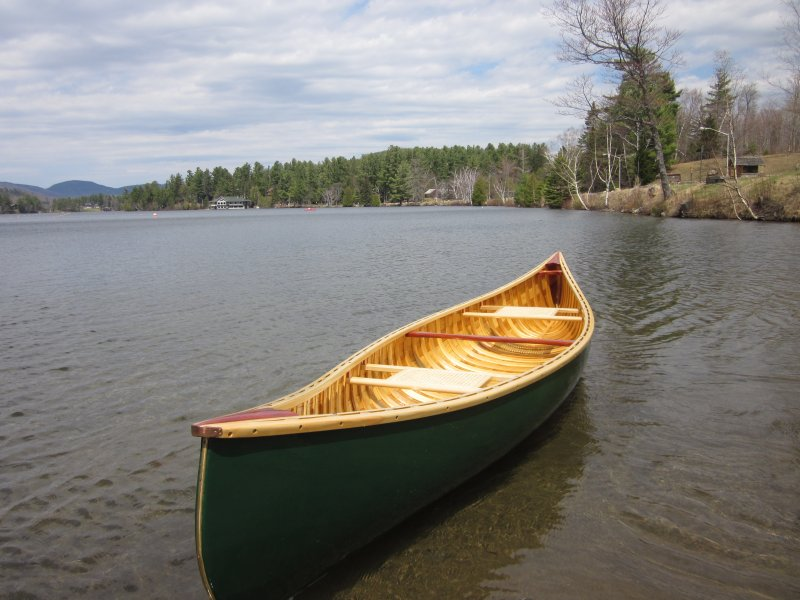 Traditional wood/canvas canoe