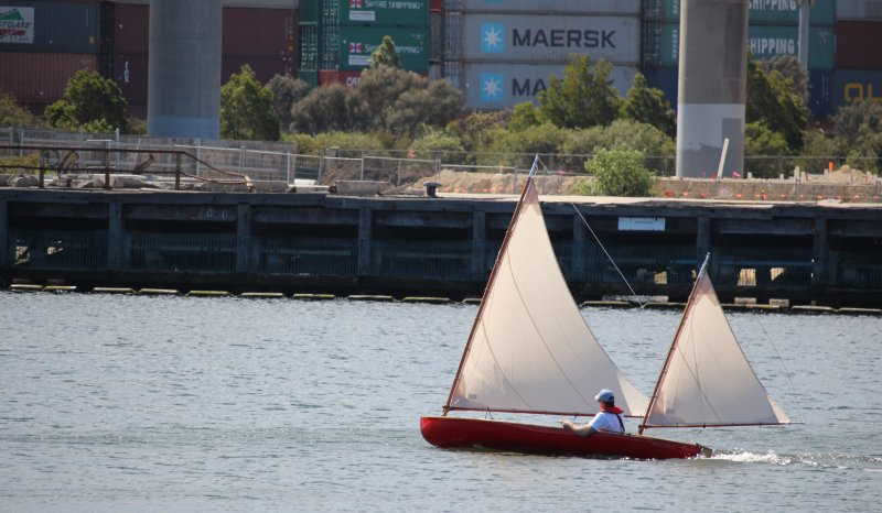 Photo 2 of strip built sailing canoe