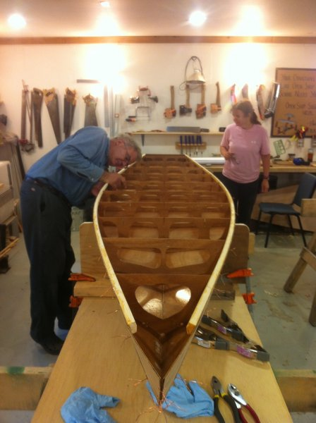 Paddleboard under construction at The Folk School in Fairbanks, Alaska.