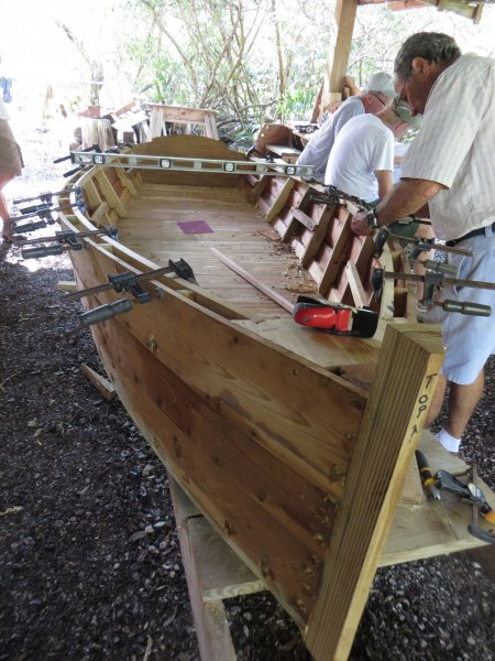 Construction of our Sharpie Skiff: Cedar plank, lapstrake hull.