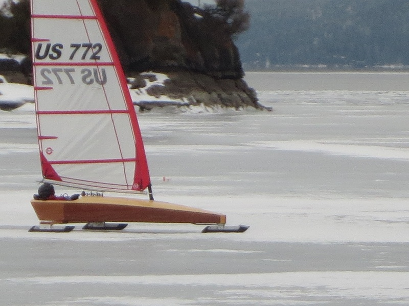 The Kestrel Mini Skeeter iceboat at Somers Bay Flathead lake Montana