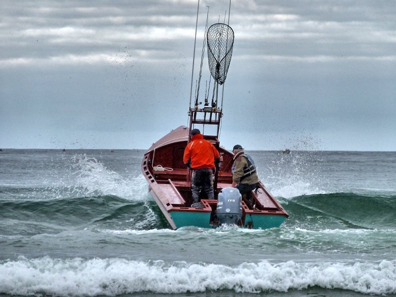 Launching at Pacific City, Oregon