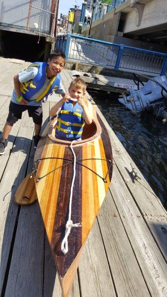 Raffle winner Dominic in his new kayak.