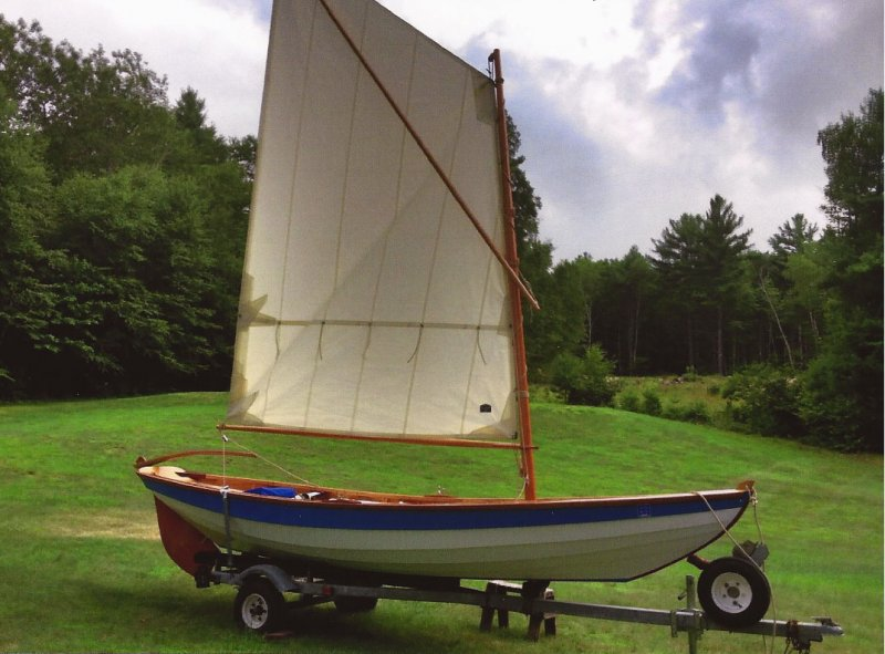 George Thomas sails the dory on Lake Winnipesaukee in New Hampshire