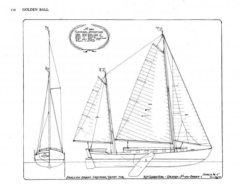 Classic Sailing Ketch Herreshoff Goldenball