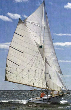 WoodenBoat's BELFORD GRAY, with topsail set