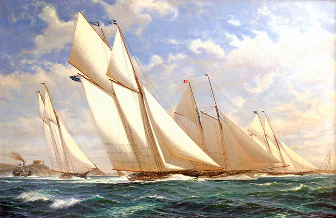 CAMBRIA at the 1870 Ashbury Cup, painted in 2003