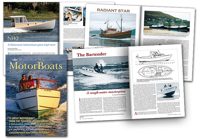Cover and spreads from MotorBoats magazine