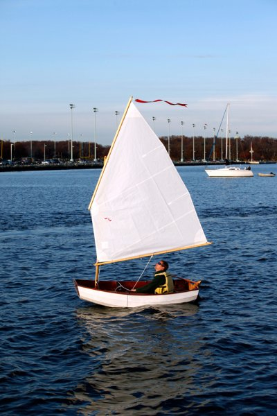 Reassembled, the boat handles well under oars or sail