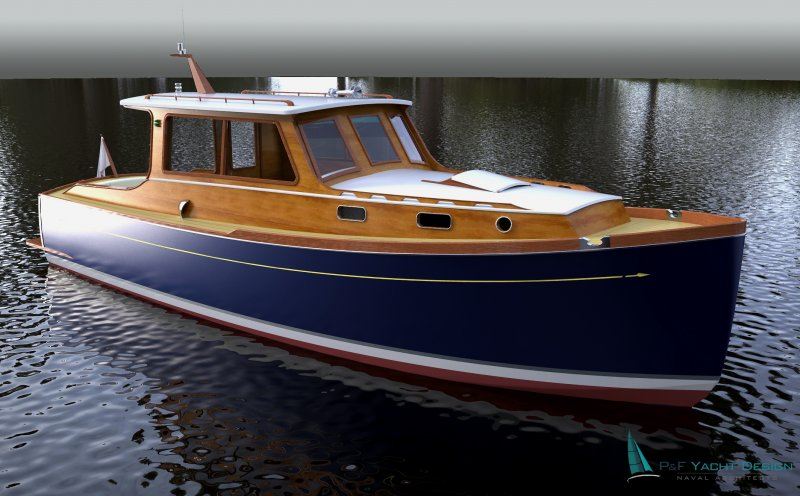 This retro styled powerboat was designed for weekend cruisers and ...