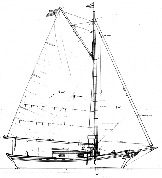 Auxiliary cruising sloop sail plan