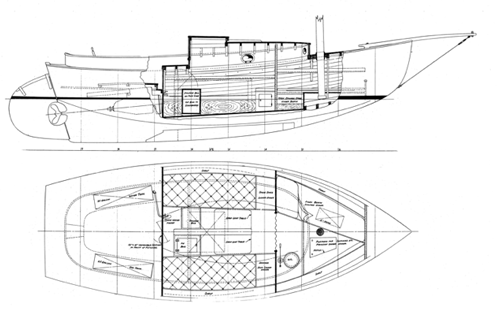25' Keel/Centerboard Sloop overhead and side
