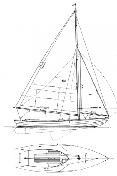Alden 21' Indian Class overhead and side profile