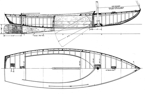 Alden 21' Indian Class profile overhead and side