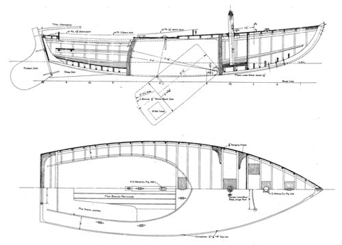 Alden 18' O Boat overhead and side profile