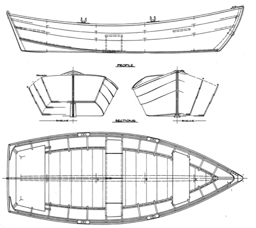 Thomson 11' Skiff overhead and profile