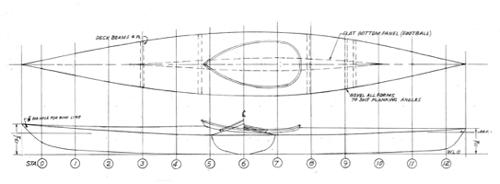 Strip Kayak SKIMALONG II profile and overhead