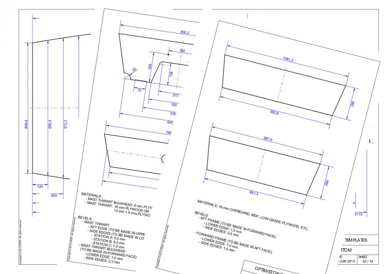 Optimist Dinghy Template plans.