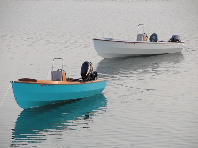 2 fuel efficient PT Skiffs at anchor from Port Townsend Watercraft