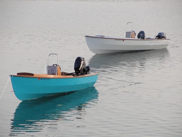 2 fuel efficient PT Skiffs at anchor from Port Townsend Watercraft