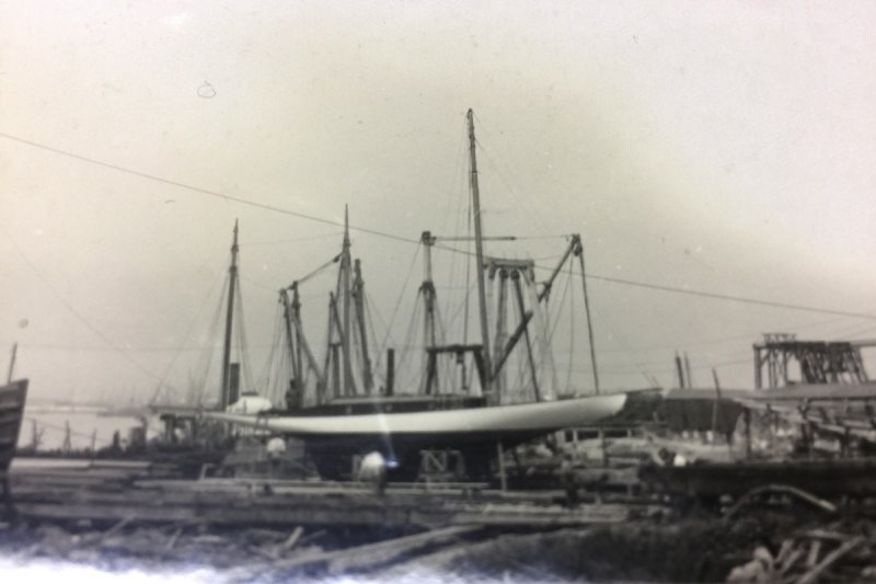PRONTO II on the ways, Stone Boat Yard, Oakland, CA 1914.