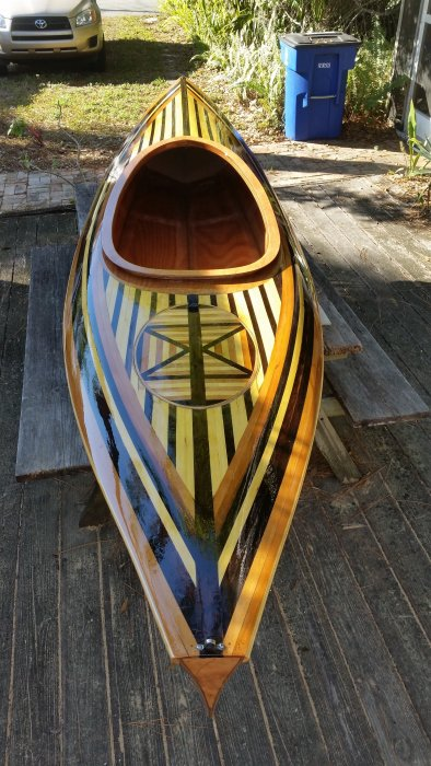 Completed kayak before launch.