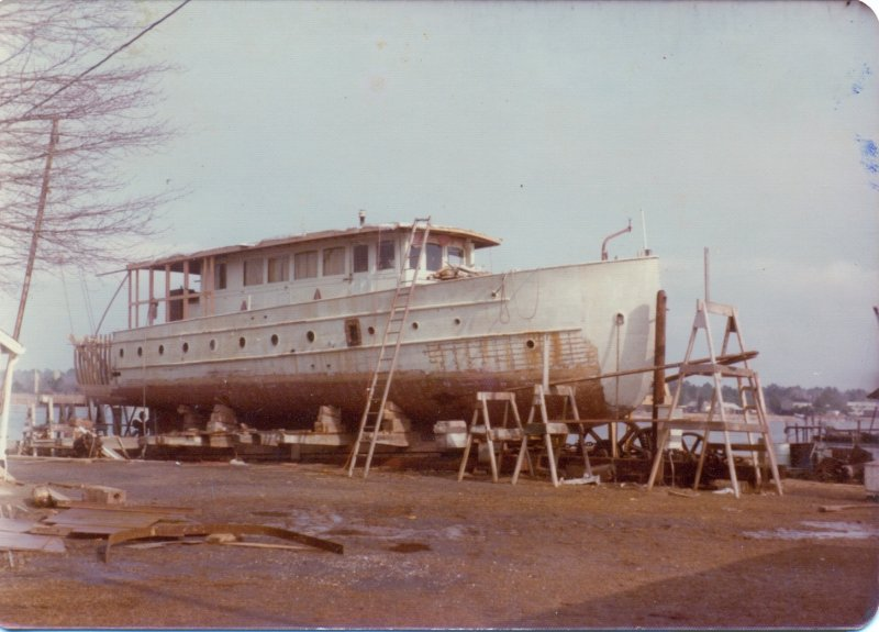 Smiths Marine Railway Winter 1976-1977 bottom being rebuilt and the stern changed from a canoe stern to a round stern. photo Butch Baxter