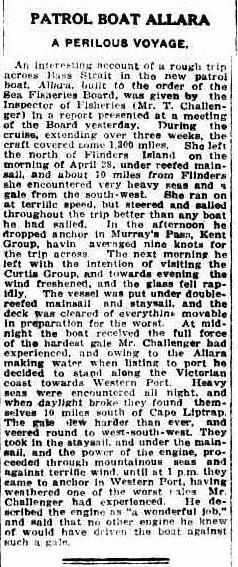 Aralla's maiden voyage. The skipper was a Cape Horner.
