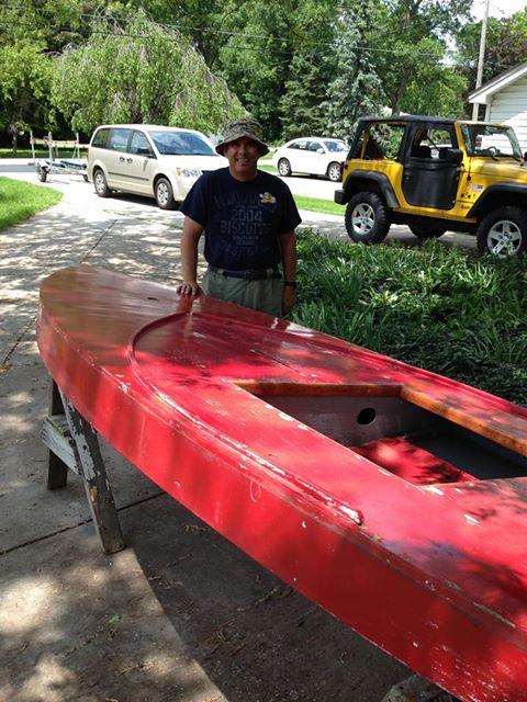 wooden Sunfish sailboat