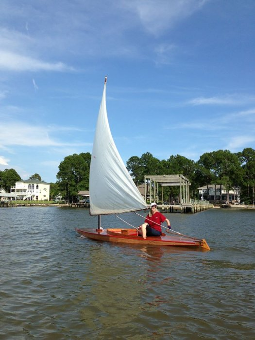 sailing a wooden Sunfish