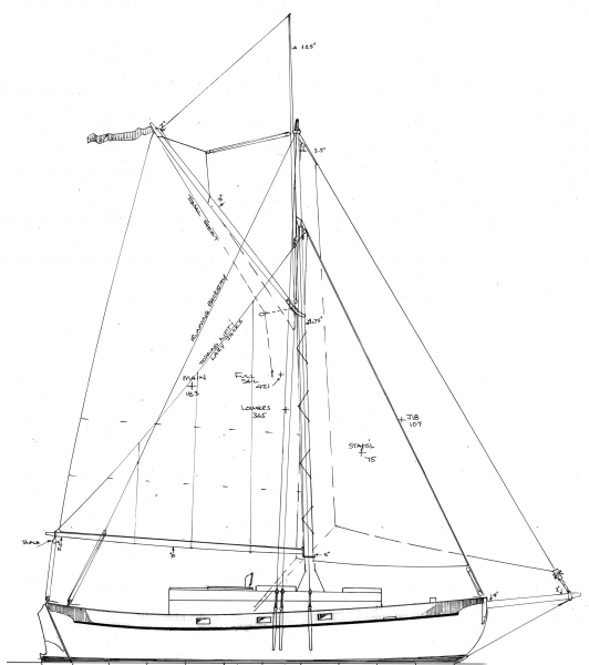 Sail plan of 23' wooden centerboard cutter Sandy