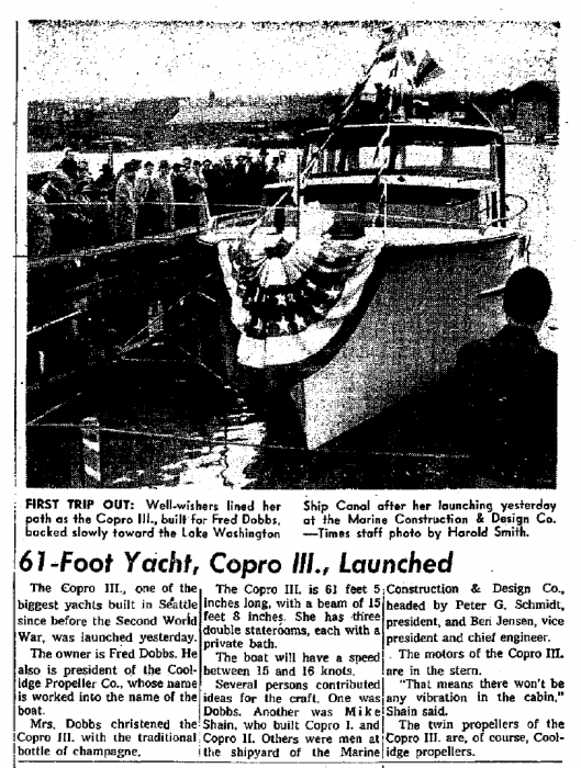 COPRO III launch featured in Seattle Times, Sunday, March 3rd, 1957
